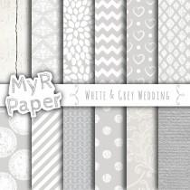 "wedding photo - Wedding digital paper: ""WHITE & GREY WEDDING"" White and Gray paper with chevron, stripes, polka dots, hearts, lace, wood, cardstock, lacy"