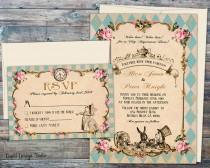 wedding photo - Fairytale wedding invitations Wedding invitations Alice and wonderland invitation set Handmade Alice in Wonderland invite Printed wedding