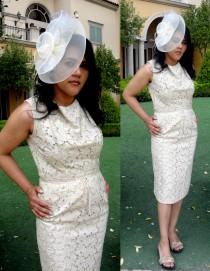 wedding photo - Vintage 60s Ivory Lace Wiggle Dress by Parnes Feinstein  - Mad Men, Rockabilly, Eco Friendly, Pin Up,