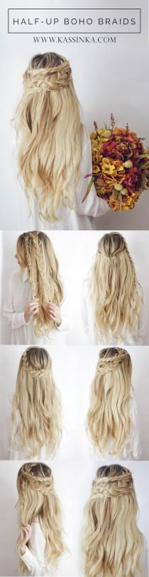 wedding photo - Half-up Boho Braids ┊ Hair TutorialKassinka