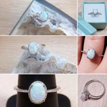 wedding photo -  Opal Engagement Ring Sterling Silver size 4 5 6 7 8 9 10 11 12