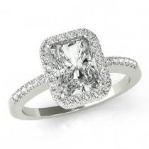 wedding photo - 3.50 carat Forever Brillaint Moissanite Engagement Ring 14k White Gold - Emerald Cut - Diamond Halo Engagement Wedding Rings for Women