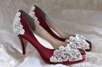 "wedding photo - Wedding Shoes - Lace Wedding Heels - PB826A Vintage Wedding Lace Peep Toe 2 3/4"" Heels, Women's Bridal Shoes"