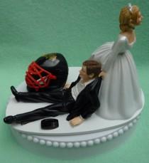 wedding photo - Wedding Cake Topper Chicago Blackhawks Black Hawks Hockey Themed w/ Bridal Garter Sports Fans Bride Groom Funny Humorous Reception Idea Top