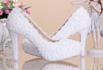 wedding photo - Women Brides Fashion White Flowers Lace Platform High Heels Pearls Wedding Shoes