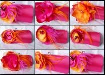 wedding photo - Set of 9 Clutches for Your Bridesmaids/ Fuchsia and Orange Collection