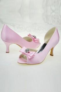 wedding photo - Elegant Pink Peep Toe Wedding Shoes Bridesmaid Shoes S57