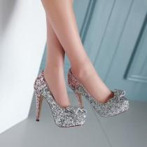 wedding photo - Glitter Women Pumps Platform Bowtie High Heels Wedding Shoes Woman
