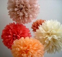 wedding photo - XOXO / 5 tissue paper poms / wedding decorations / diy / parisian theme / coral decorations / birthday party poms / nursery decorations
