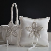 wedding photo - Off white wedding flower girl basket and ring bearer pillow set  wedding pillow with rhinestones applique, wedding baskets with rhinestones