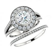 wedding photo - Forever One Moissanite & Diamond Bridal Set, Moissanite Wedding Sets for Women 14k 18k or Platinum, Engagement Rings Moissanite Bridal Sets