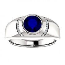 wedding photo - 7mm Blue Sapphire & Diamond Men's Ring 14k White Gold, Men's Anniversary Rings, Wedding Rings for Men, For Him, Engagement Wedding Rings
