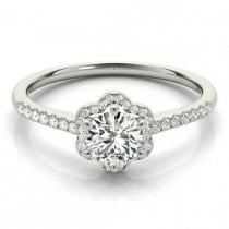 wedding photo - Forever One Moissanite & Diamond Scalloped Halo Engagement Ring, Flower Diamond Rings, Moissanite Anniversary Wedding Rings for Women 14k