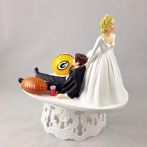 wedding photo - Handmade Wedding Cake Topper NFL Themed Green Bay Packers Unique and Humorous Cake Toppers Perfect For Sports Loving Grooms' Cake Topper