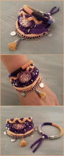 wedding photo - Bohemian Bracelets Chinese Love Hieroglyph Peach Purple, Tassel Bracelet Modern Hippie Style, Jersey Layering Bracelet