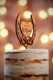 wedding photo - Personalized Wedding Cake Topper Rustic Cake Toppers for Wedding