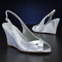 wedding photo - Wedding Shoes - Slingback Wedge Sandal- Custom Colors- PBD103B Women's Bridal Wedge Shoes