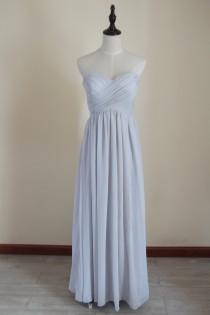 wedding photo - Light Gray Bridesmaid Dress Long Chiffon Light Grey Floor-length Strapless Bridesmaid Dress-Custom Dress