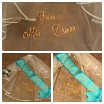 wedding photo - Combo Monogrammed Satin Sash & Future Mrs. Veil -Bachelorette Party or Bridal Shower Gift for Bride - Design Your Own, Personalized