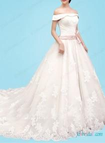 Dreamy Princess Tulle Lace Wedding Gown With Off Shoulderlace Overlay Bodice Pink Bow Beltfull Bottom Appliques Detailslace Up