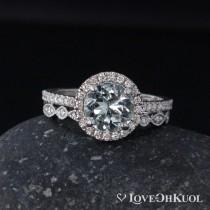 wedding photo - Blue Aquamarine Diamond Halo Engagement Ring – Milgrain Diamond Wedding Band - Set of Rings