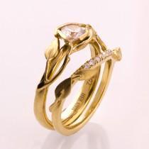 wedding photo - Leaves Engagement Set - 14K Gold and Diamond engagement ring, engagement ring, leaf ring, wedding set, engagement set, leaf rings set