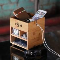 wedding photo - Personalized stacking valet phone charger in eco-friendly bamboo, organizer, Men's monogram