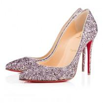 wedding photo - PIGALLE FOLLIES GLITTER 100 RONSARD/SILVER Glitter - Women Shoes - Christian Louboutin