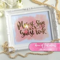 "wedding photo - Foiled Wedding Guestbook Sign, gold, silver, rose gold, pink Foiled Wedding Signage 10 x 8"" Watercolour, blush coral Emillie style"