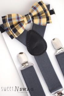 wedding photo - SUSPENDER & BOWTIE SET.  Newborn - Adult sizes. Dark Grey / Gray Suspenders. Yellow / Navy Plaid bowtie.
