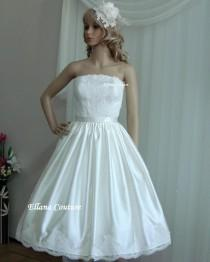 wedding photo - Plus Size. Irene - Stunning Vintage Inspired Wedding Gown. Tea Length Dress.