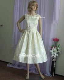 wedding photo - Plus Size. Lucille - Vintage Inspired Tea Length Wedding Dress. Beautiful Retro Style Brocade.