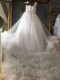 Aliexpress Buy One Shoulder Floor Length Ball Gown Wedding Dresses With Tiered Train From Reliable Suppliers On Gama Dress