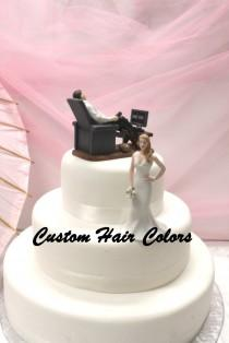 wedding photo - Funny Wedding Cake Topper - Couch Potato Groom and Waiting Bride - Personalized Cake Topper - Cake Topper - Modern - Fun Cake Topper