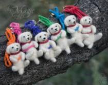 wedding photo - Needle felted puppies on a braided necklace, kumihimo jewelry, dog necklace, gift for pet owner, puppy, felted toy, multicolor, white
