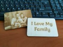 wedding photo - Photo Engraved Wallet Card, Wallet card, Photo engraved card, Wood card, Photo card, Unique gift idea, Gift for him, Gift for her, engraved
