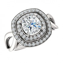 wedding photo - Cushion Forever One Moisanite & Diamond Double Halo Engagement Ring 14k White Gold 18k or Platinum, Moissanite Wedding Rings for Women 6mm