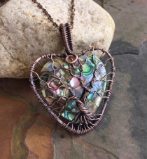 wedding photo - Abalone Tree Of Life Copper Wire Pendant