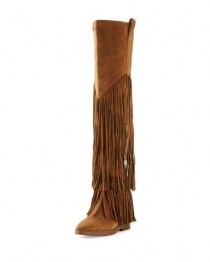 wedding photo - Gipsy Fringe Suede Over-The-Knee Boot