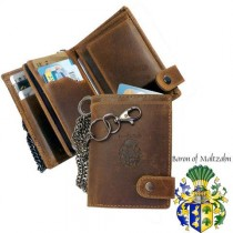wedding photo - Biker Wallet with Chain Brown Leather
