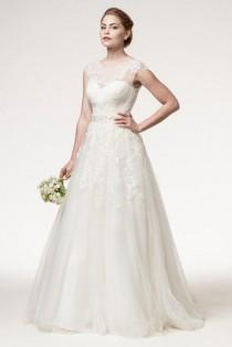 wedding photo - Cap Sleeve Sheer Scoop Neckline Ballgown