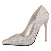 wedding photo - Silver Rhinestone Wedding Shoes Platform Pumps Red Bottom High Heels Crystal Shoes