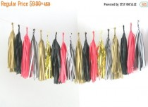 wedding photo - ON SALE Stripes, Black, Pink and Gold Tassel Garland . Valentines Day Decor, Bachelorette Party Decorations, Girls Room Banner