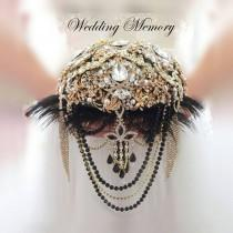 wedding photo - Gold and black Great Gatsby brooch bouquet. Wedding bridal cascading broach boquet with feathers