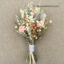 wedding photo - Peach Dried Flower Wedding Bouquet - Preserved Natural Bridal Bouquets - grey herbs gray woodland rustic - VINTAGE WILDFLOWER COLLECTION