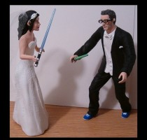 wedding photo - Custom Geek Battle Wedding Cake Toppers Figure set - Personalized to Look Like Bride Groom from your Photos