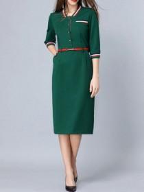 wedding photo - Green Striped Belted Pockets Sheath Dress