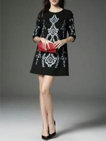 wedding photo - Black Vintage Embroidered Shift Dress