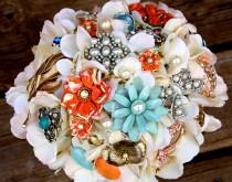 wedding photo - Brooch Bouquet vintage Coral green ivory brooch bouquet lace etsy wedding, Deposit only