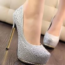 wedding photo - Shiny Stiletto Platform Beading Candy Color Wedding Shoes A10